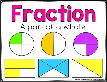 Fun with Fractions Activities to show & identify one whole, 1/2's, & 1/4's