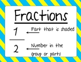 Fun with Fractions sort, posters, assessment, and game!