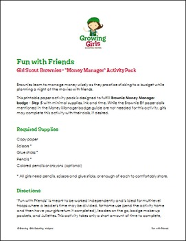 """Fun with Friends - Girl Scout Brownies - """"Money Manager"""" Activity Pack (Step 5)"""