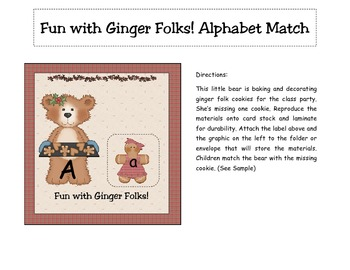 Fun with Ginger Folks! Christmas Alphabet Match Literacy Center
