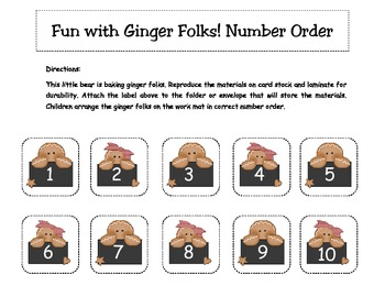 Fun with Ginger Folks Christmas Number Order Literacy Center