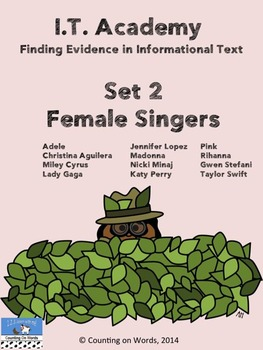 Fun with Informational Text at I.T. Academy: Set 2 Female Singers