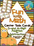 Fun with Math 3-4 Digit Addition and Subtraction Task Cards Common Core Inspired