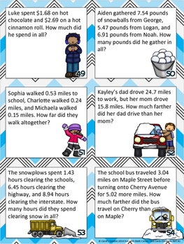 Fun with Math Center Task Cards Decimals Part Two Common Core Inspired