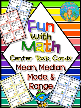 Fun with Math Center Task Cards Mean Median Mode and Range