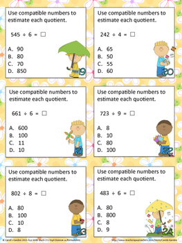 Divide 2-3 Digits By 1 With Remainders Center Task Cards Common Core Inspired