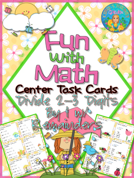 Divide 2-3 Digits By 1 With Remainders Center Task Cards C