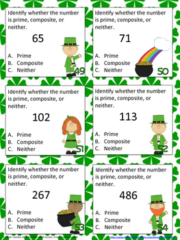 Factors, Prime, and Composite Numbers Center Task Cards Common Core Inspired