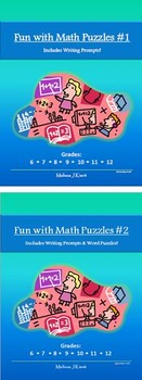 Fun with Math Puzzles BUNDLE (W/ Writing Prompts & Word Puzzles!): 50 Puzzle Pgs