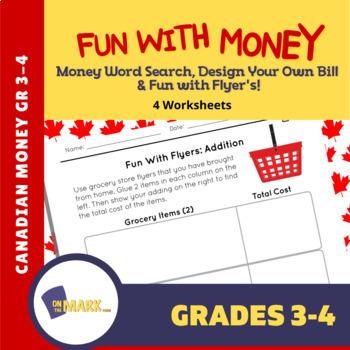 Fun with Money! Money Word Search, Design a Bill, Flyer Fun! Gr  3-4
