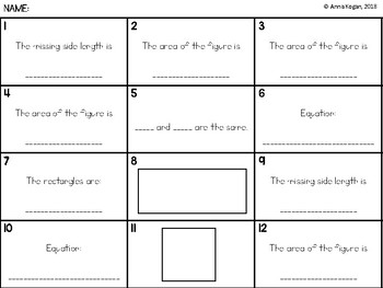 Fun with Multiplication & Geometry: Area Activities #2 (3.OA.4, 3.MD.7, 4.MD.3)
