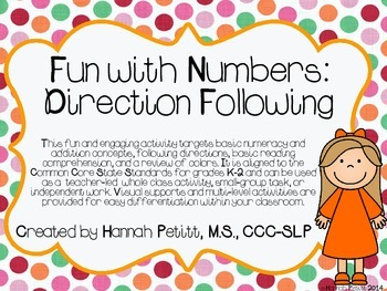 Fun with Numbers: Direction Following **Aligned to CCSS**