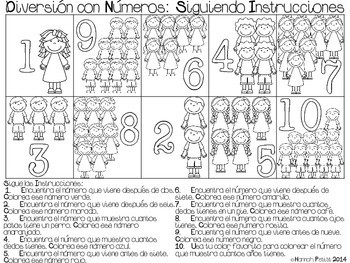 Fun with Numbers: Direction Following (SPAN/ENG BILINGUAL) **Aligned to CCSS**