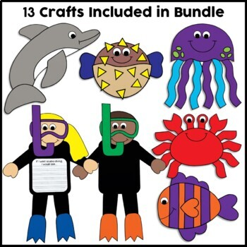 Ocean Animals Crafts Bundle by Crafty Bee Creations | TpT