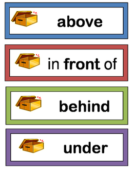 """""""Positional Words!"""" -- Group Game, Craft, and 15 Word Wall Cards"""