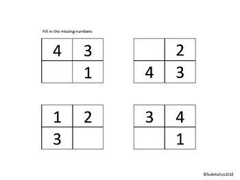 Fun with Sudoku Guy (K-Gr 3, LESSON 2): Missing numbers in 4 cells.