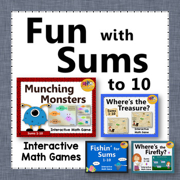 Addition Fun with Sums to 10 Interactive Math Games {Bundle}