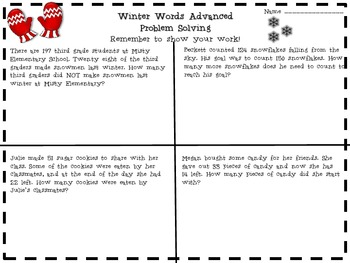Fun with Winter Activities for 2nd-4th Graders; Math, Writing, Grammar Fun!