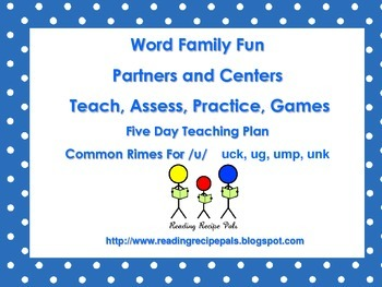 Word Families for U     Assess, Practice, Sort, Games
