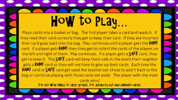 Fun with words:  BAM! Functional Sight Words Game