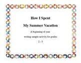Fun writing sample activity grades 2 -6