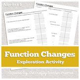 Function Changes on a Graph: Intro to Transformations Activity (Common Core)