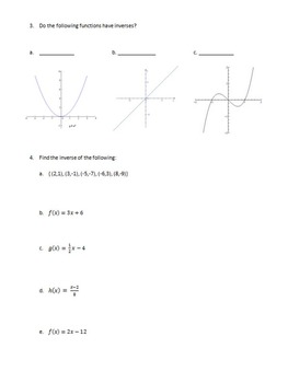 Function Composition and Inverse of Function Quiz - Algebra  (NO PREP!)