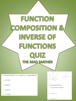 Function Composition and Inverse of Function Quiz - Algebra  (NO PREP!)
