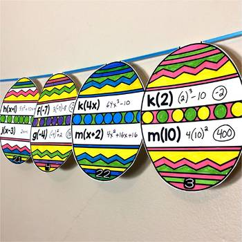 Easter Math Pennant for Evaluating Algebra Functions