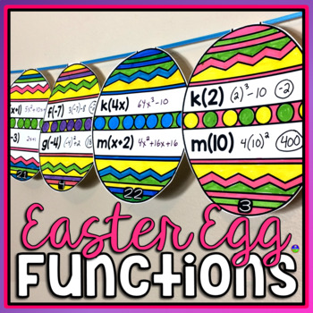 Evaluating Functions Easter Math Pennant Activity