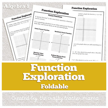 Function Exploration Foldable: Intro to Function Transformations (Common Core)