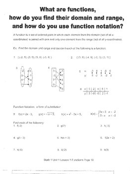 Function Families -- Functions
