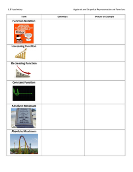 Function Families Vocab Graphic Organizer