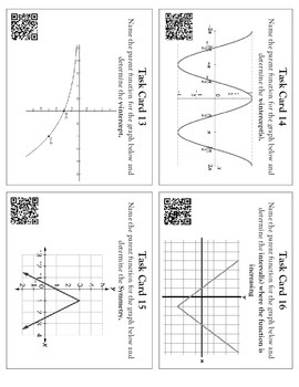 Function Families and Attributes Task Cards with QR Codes