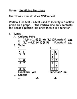 Function Identification Notes