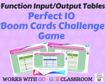 Function Input/Output Tables  – Boom Cards – Works with GOOGLE CLASSROOM