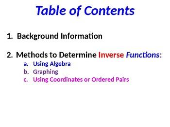 Function Inverse Solution Summary
