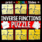 Inverse Functions Puzzle Activity - print and digital