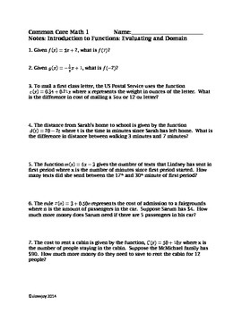 Common Core: Evaluating/Domain of Linear Functions:Notes, Activity, and WS