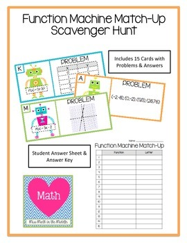 Function Machine Match-Up Scavenger Hunt