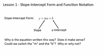 slope intercept form in function notation  Function Notation