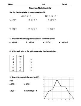 Function Notation 1 HW