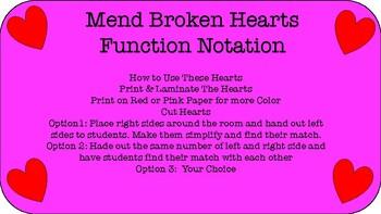 Function Notation Broken Hearts