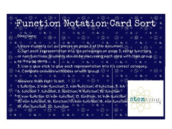 Function Notation Card Sort