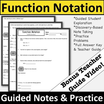 Function Notation Notes - Function Notation Guided Exploration and Practice