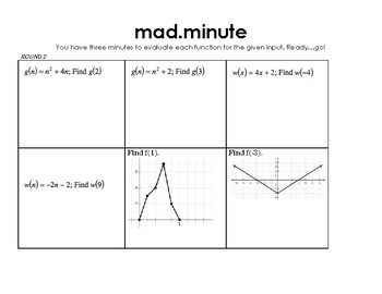 Function Notation Mad Minute