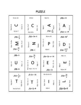 Function Notation Magic Square Puzzle