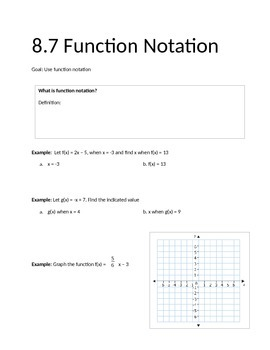 Function Notation Notes