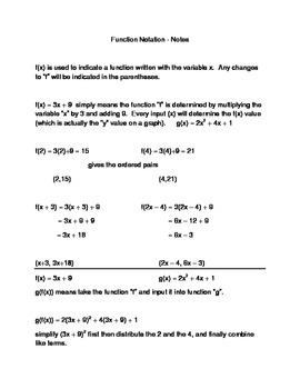 Function Notation Notes and Fodable