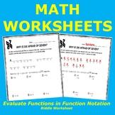 Function Notation Riddle Worksheet